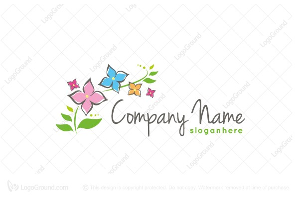 Exclusive Logo 160929, Whimsical Flower Logo.