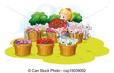 Vector Clipart of A girl selling flower.
