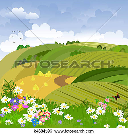 Clip Art of Rural landscape with flower meadow k4684596.