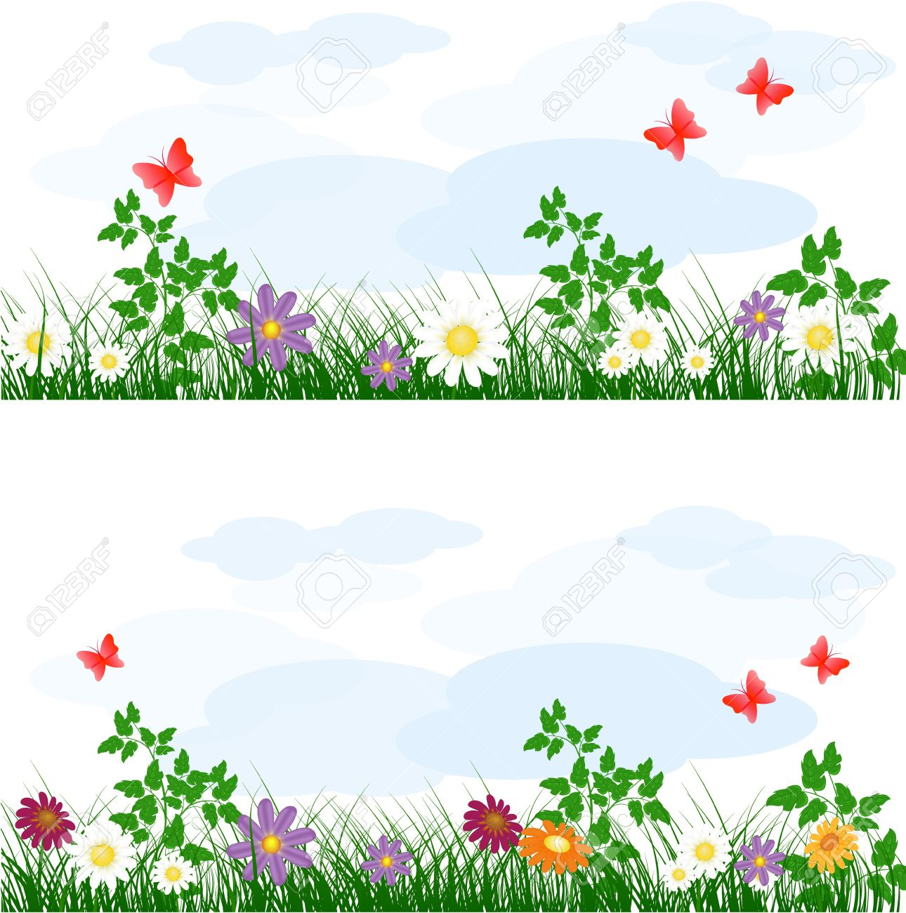 Summer Meadow Background With Flowers Royalty Free Cliparts.