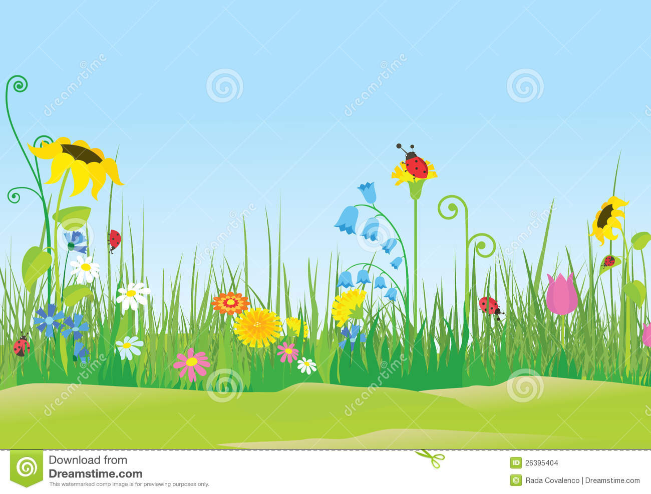 Flower Meadow With Ladybugs Stock Images.