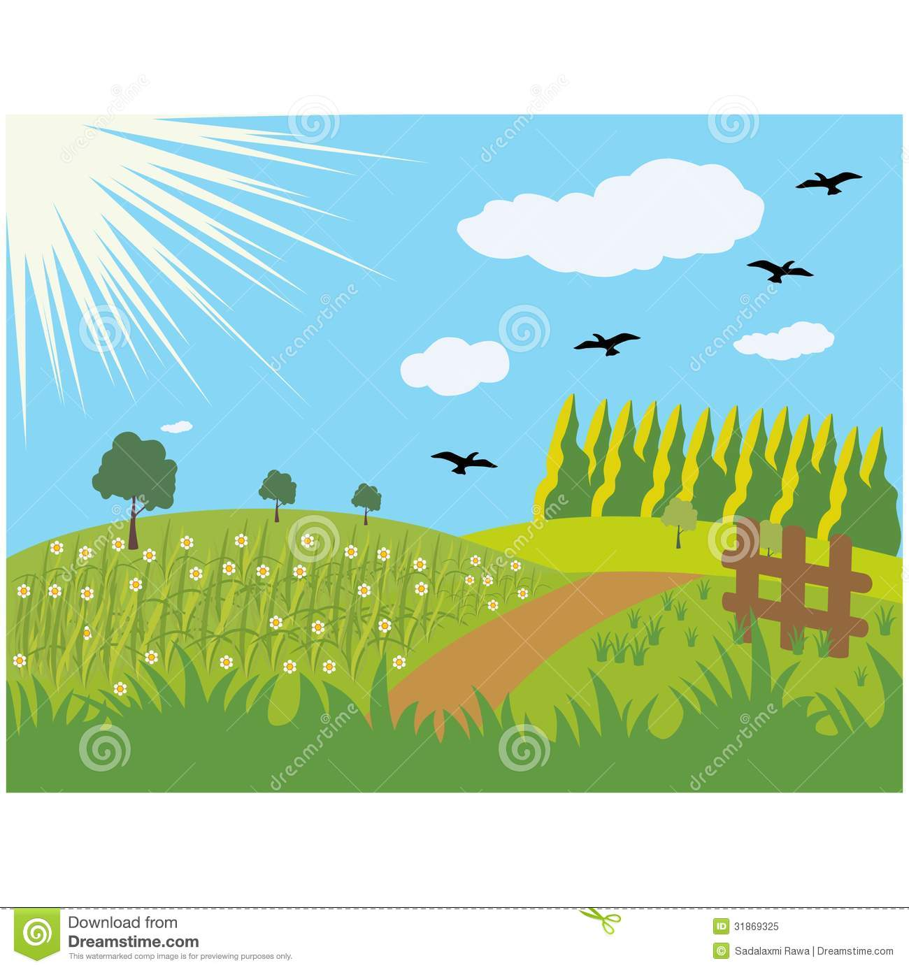 Summer Meadows Background Royalty Free Stock Photo.