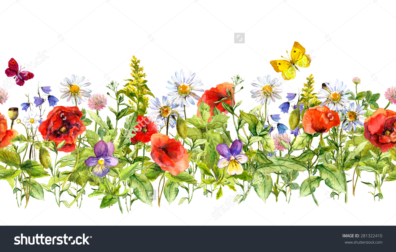 Vintage Floral Horizontal Border Watercolor Meadow Stock.
