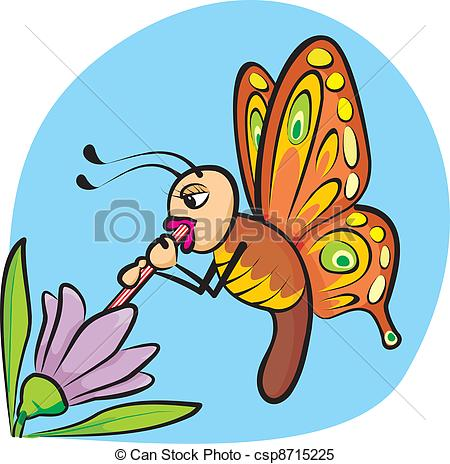 Clipart Vector of thirsty butterfly.