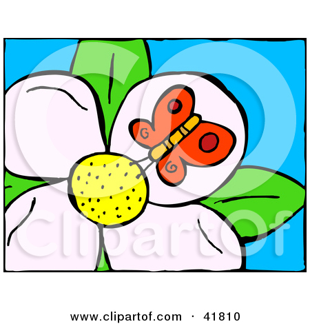 Clipart Illustration of a Red Butterfly Drinking Nectar From A.