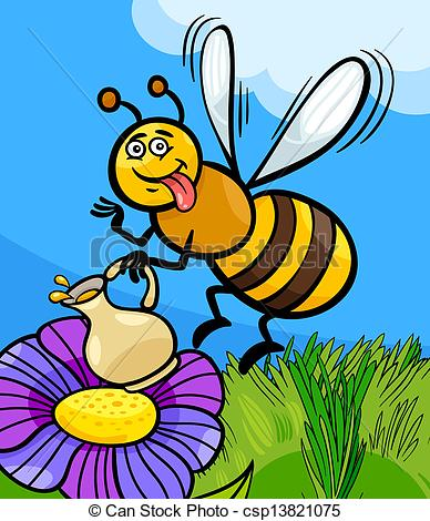 Vectors Illustration of honey bee insect cartoon illustration.
