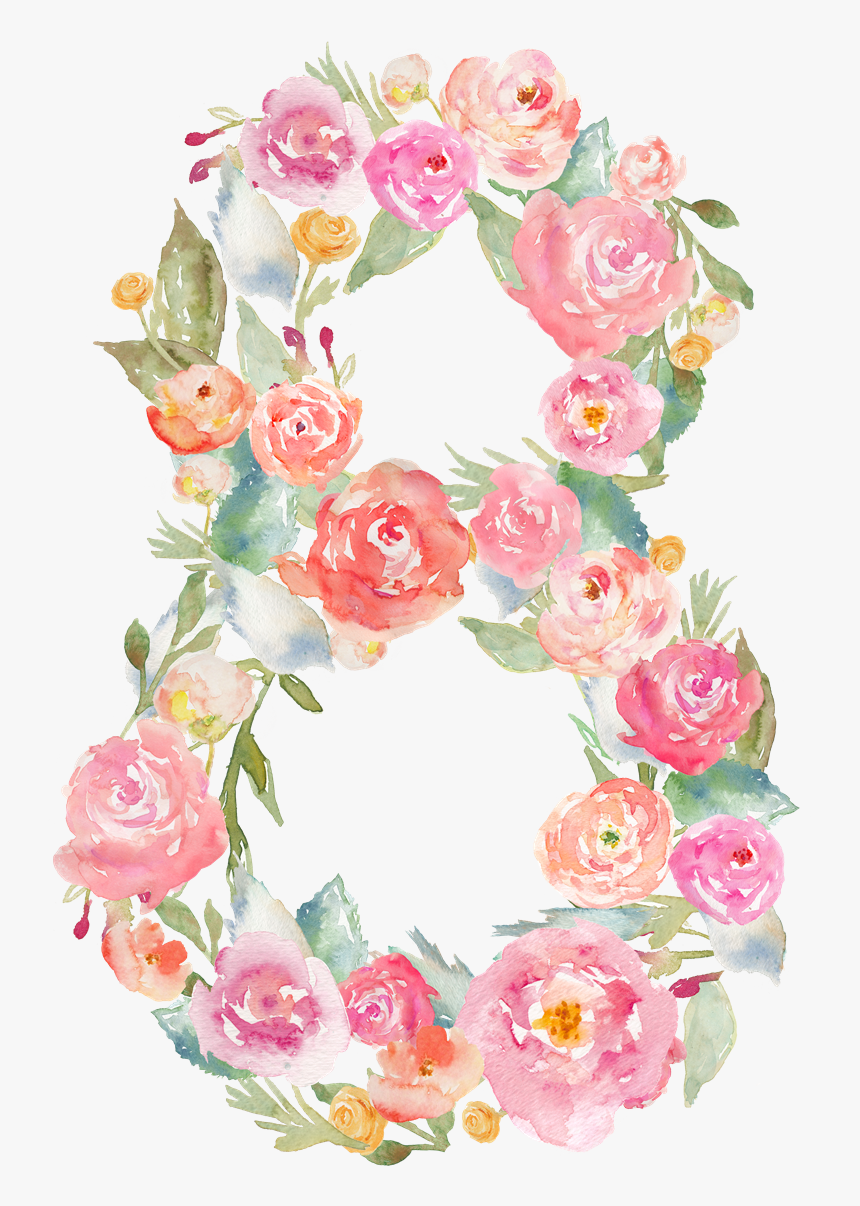 Transparent Floral Numbers Clipart.