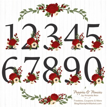 Traditional Christmas Floral Number Vectors.