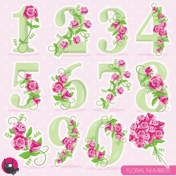 Floral numbers clipart commercial use, vector graphics, digital.