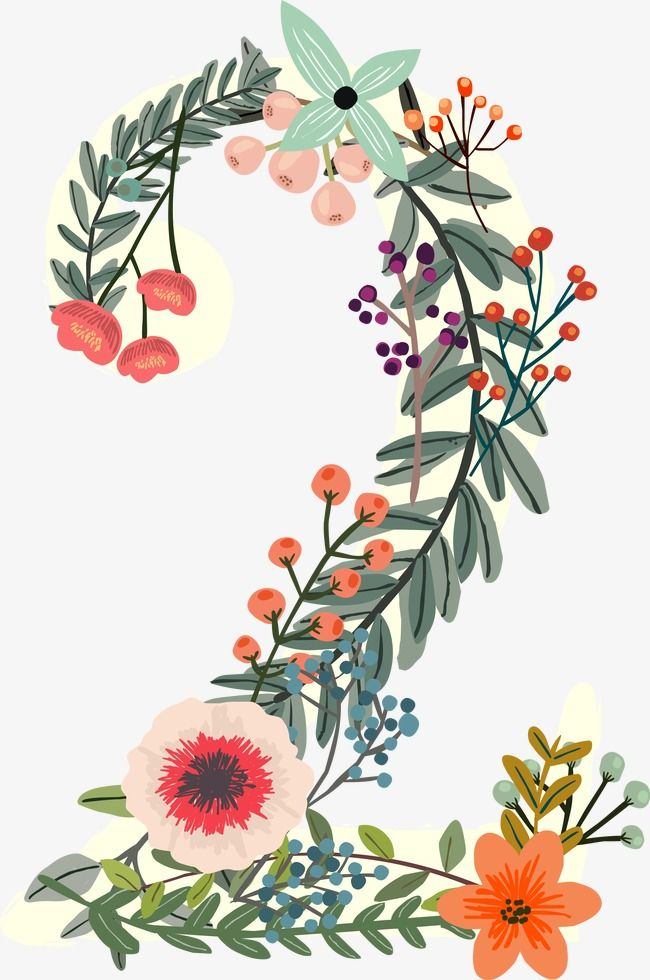 Flowers Number 2, Number Clipart, Digital Flowers, Digital.