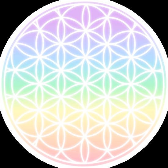 Rainbow Flower of Life Symbol.
