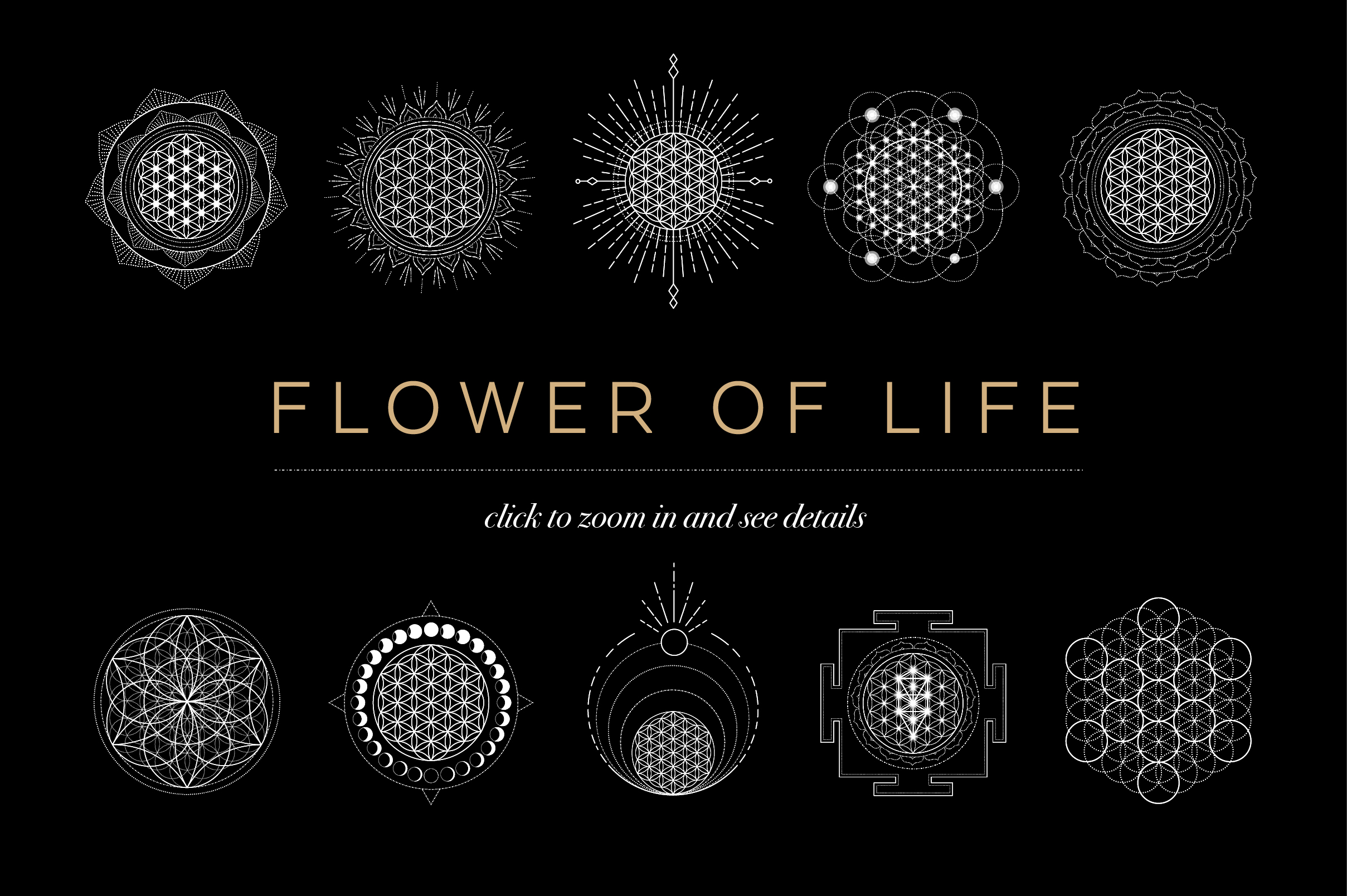 Flower Of Life Vector Logo Collection.