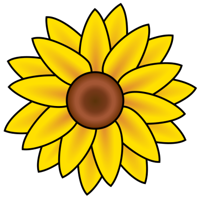 Sunflowers Clipart Black And White.