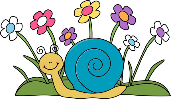 Snail and Flowers Clip Art.