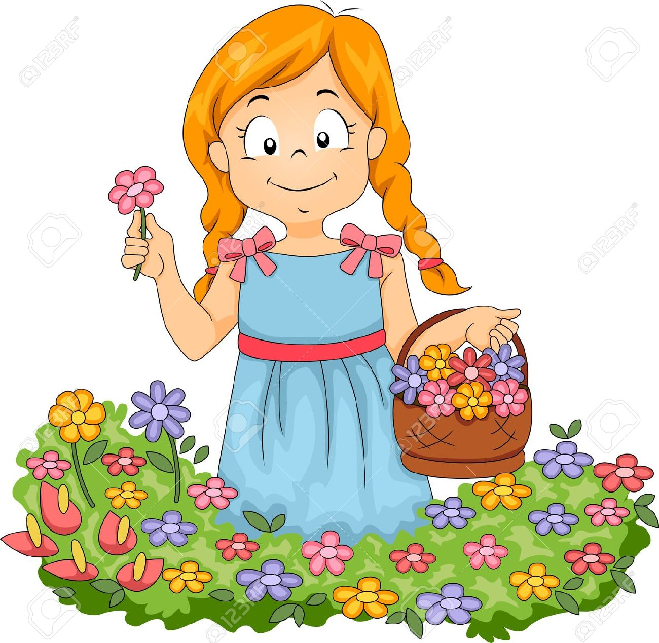 Girl blowing bubbles in flower patch cartoon clipart.