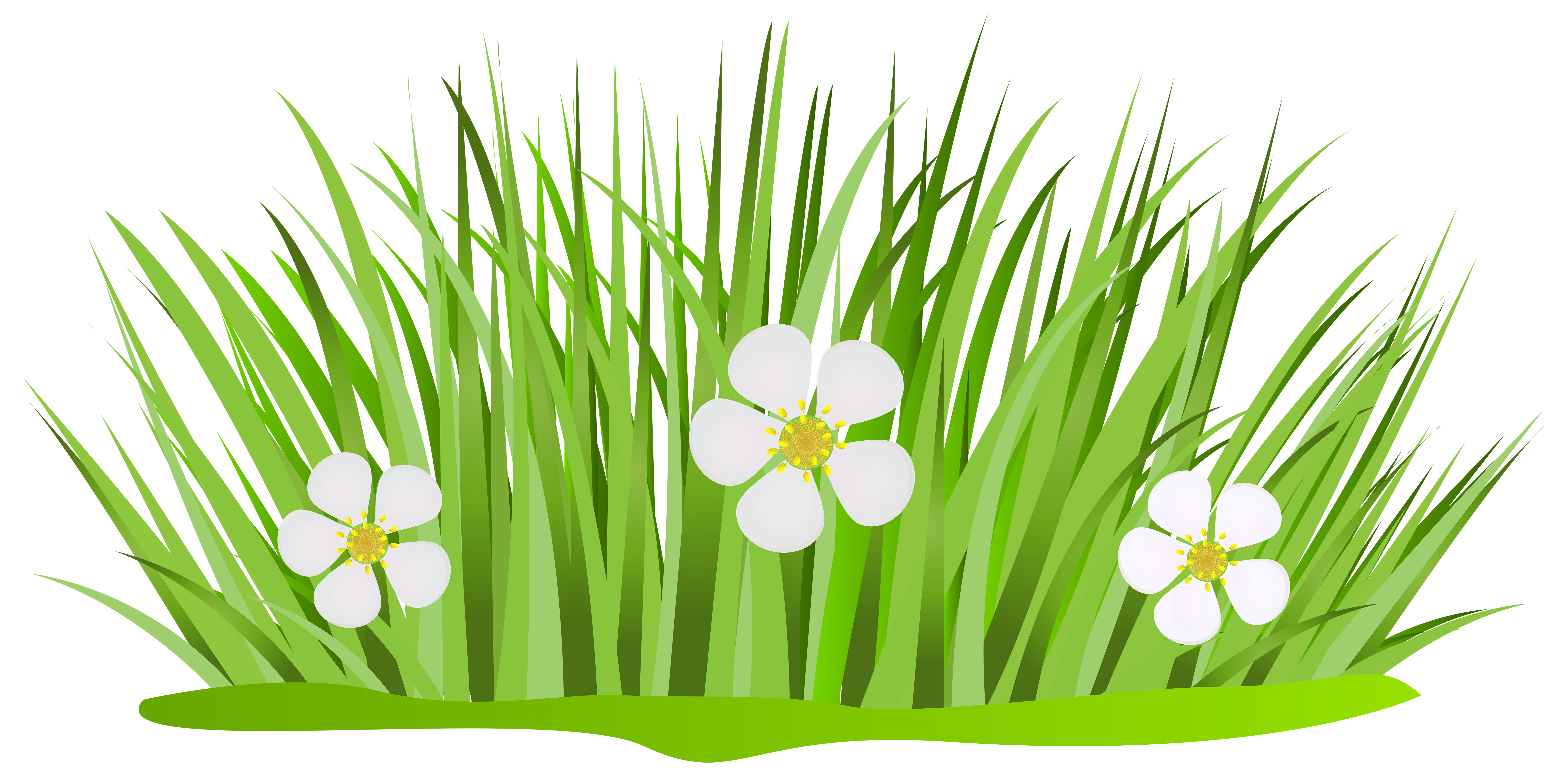 Grass Patch with Flowers PNG Clip Art Image.