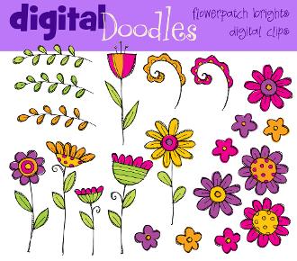 Bright Flower Patch Digital Clip art.