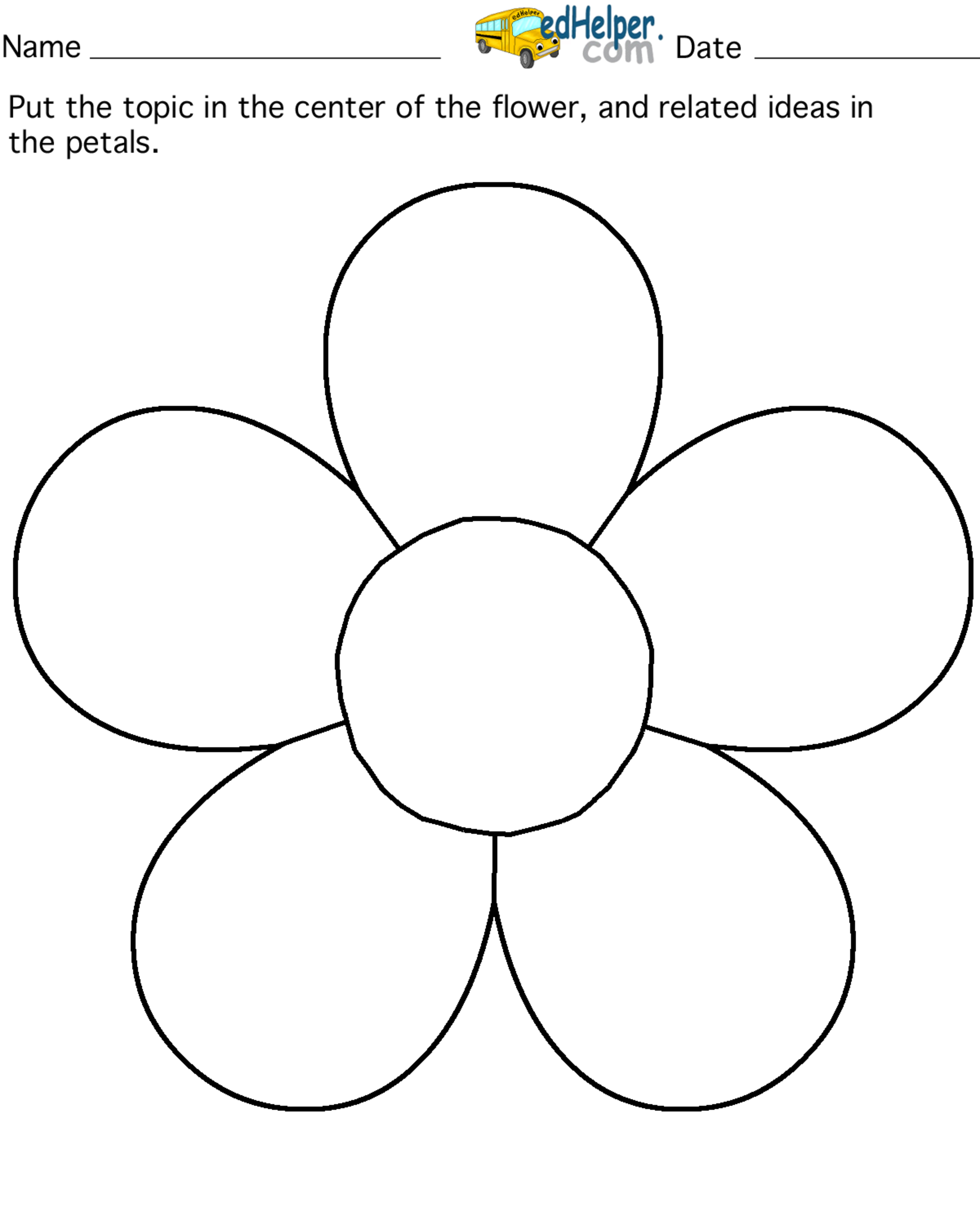 5 petal flower pattern template