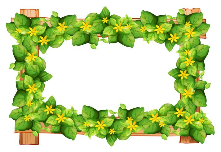 Frame design with leaves and flower.