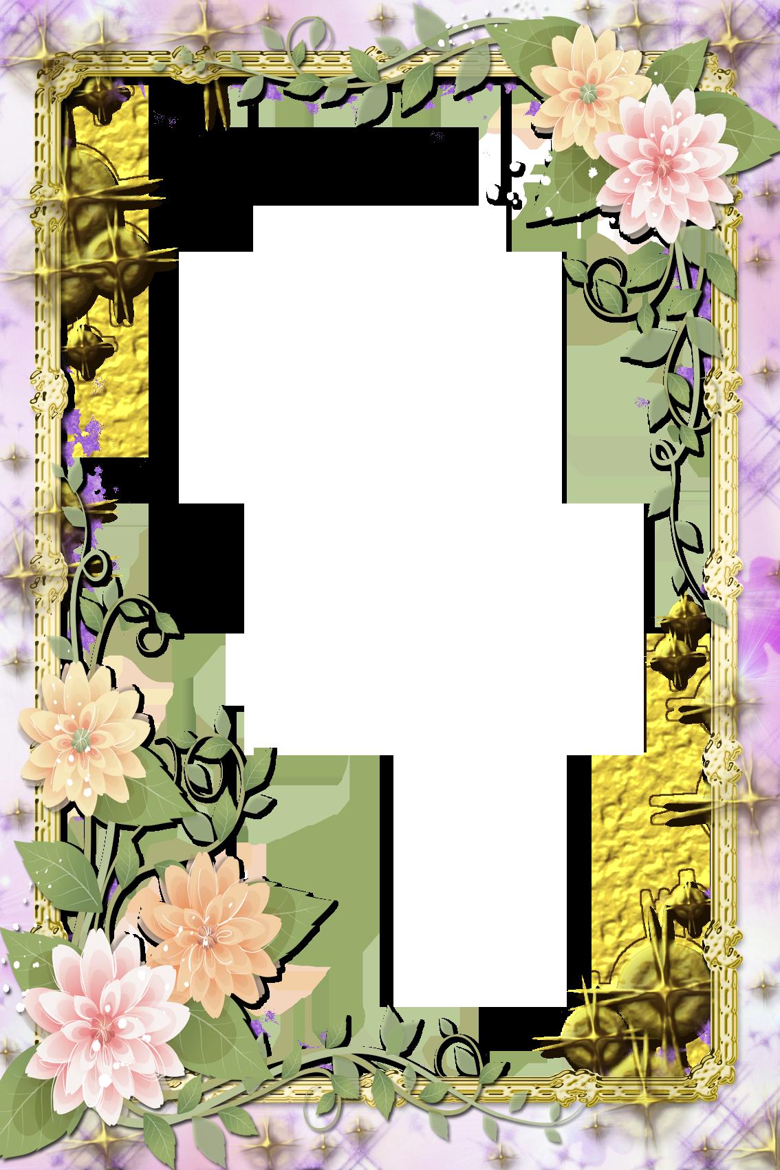Transparent Flowers Frame.