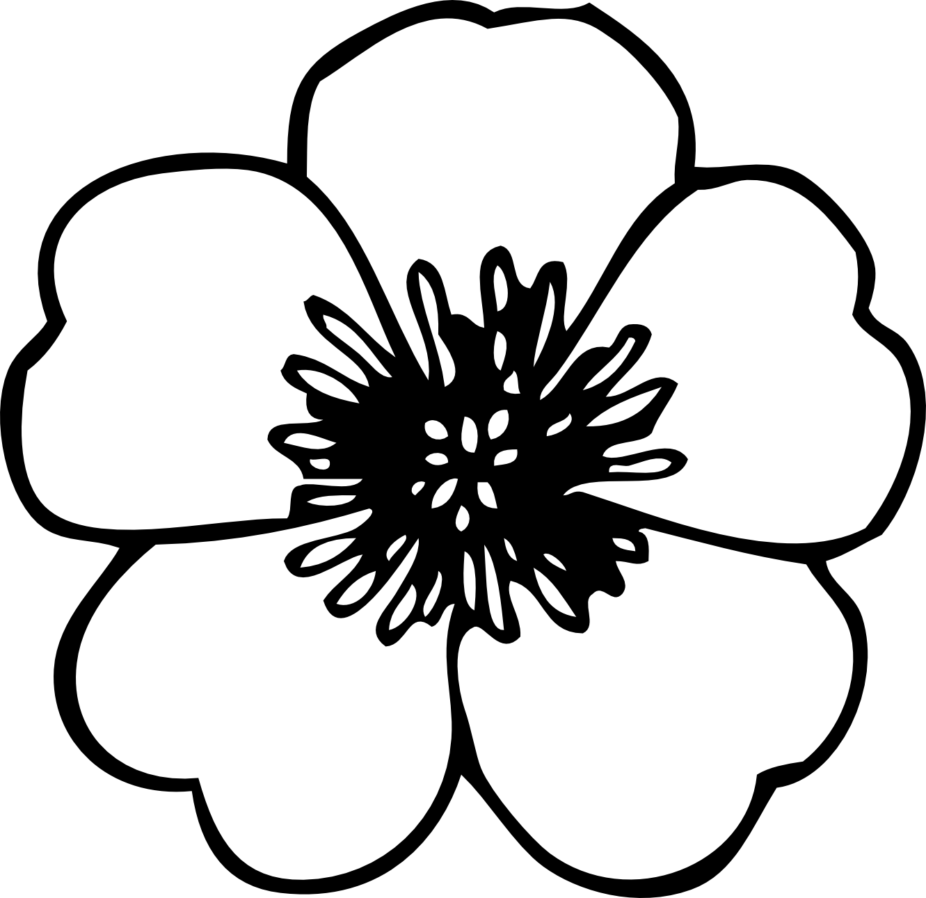 Flower black and white clipart.