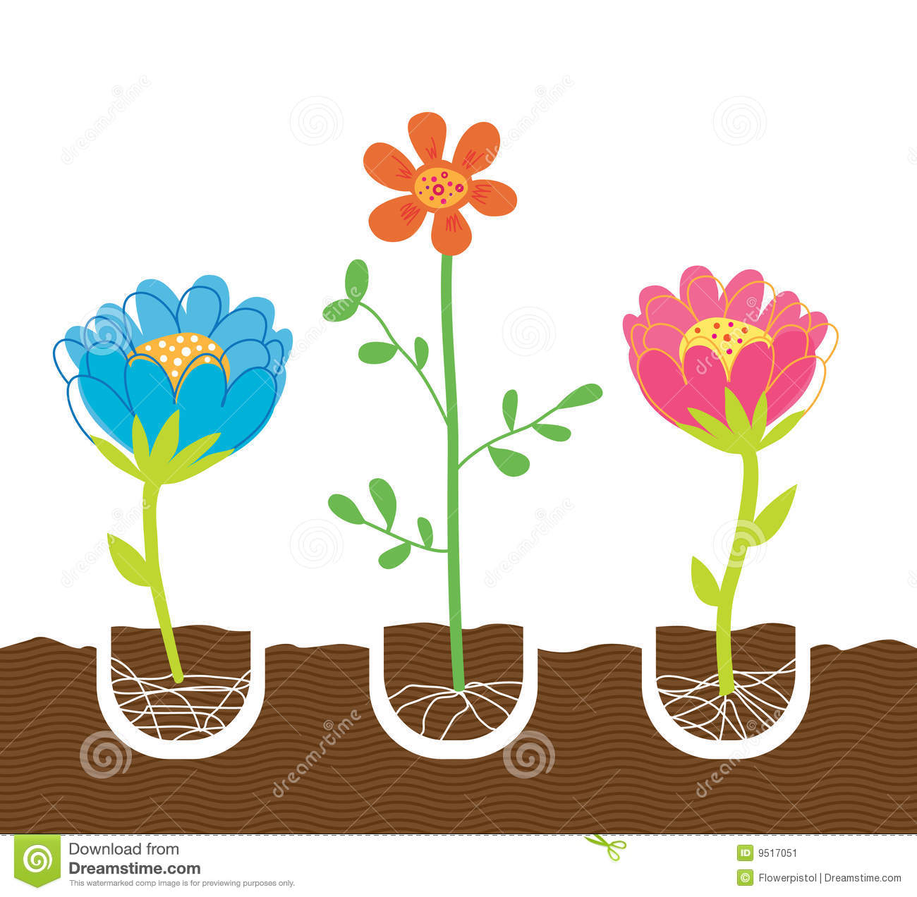 Planting Flowers Clipart.