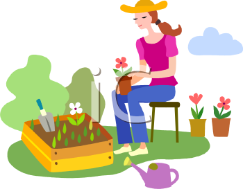 Plant a flower clipart.