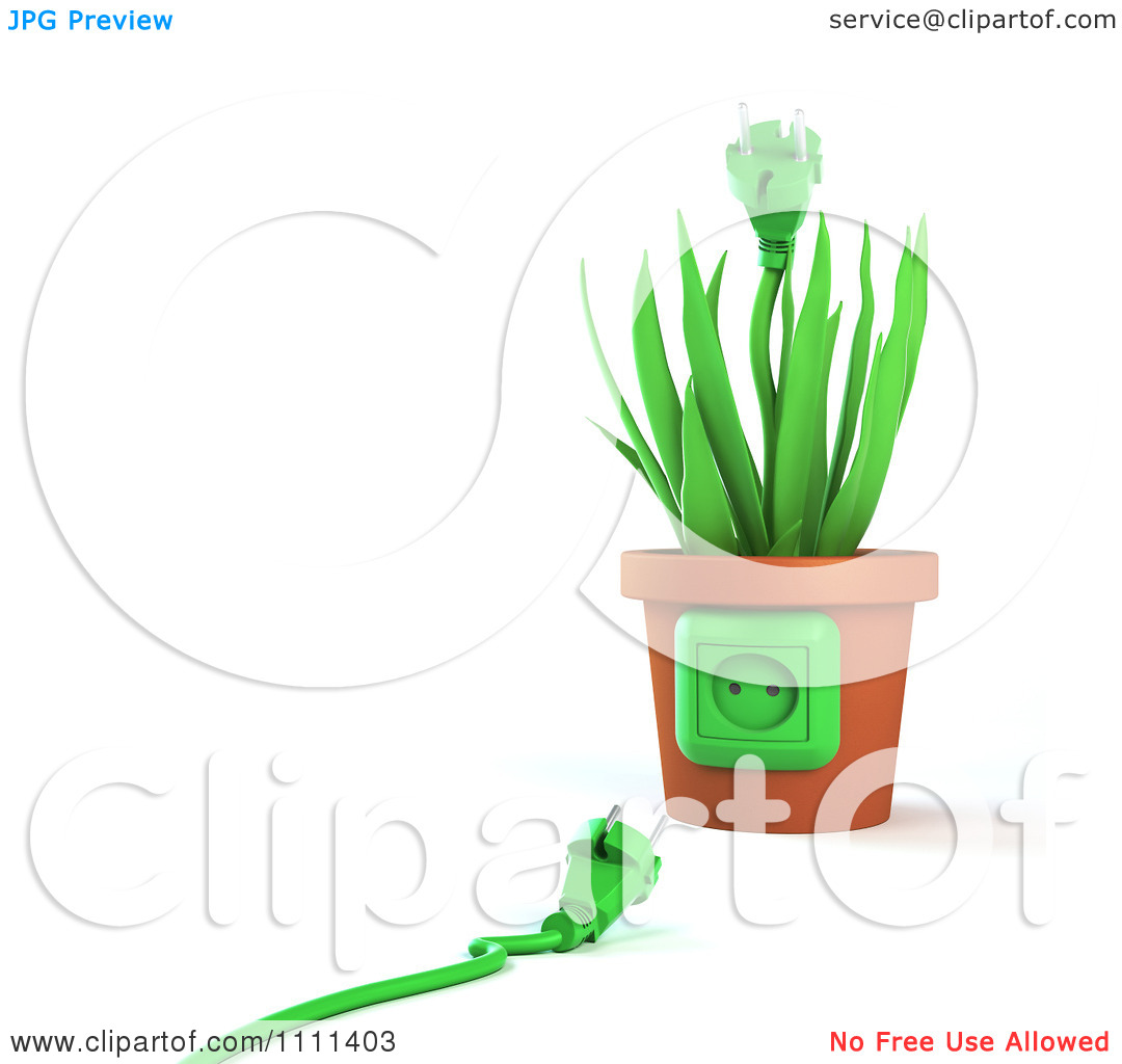 Clipart 3d Cable By A Socket On A Plug Plant Pot.