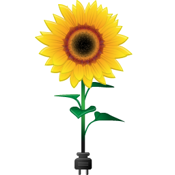 Sunflower With Power Plug Icon, PNG ClipArt Image.