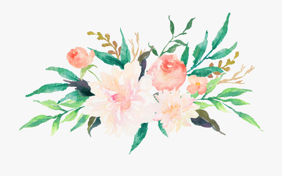Clip Transparent Library Free Watercolor Flowers Clipart.