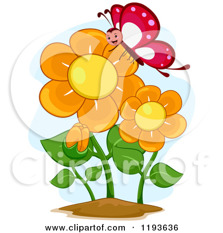 Happy Butterfly Mascot and Orange Flowers Posters, Art Prints by.