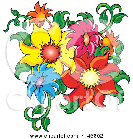 Cluster Of Fresh Colorful Summer Flowers And Stems Posters, Art.
