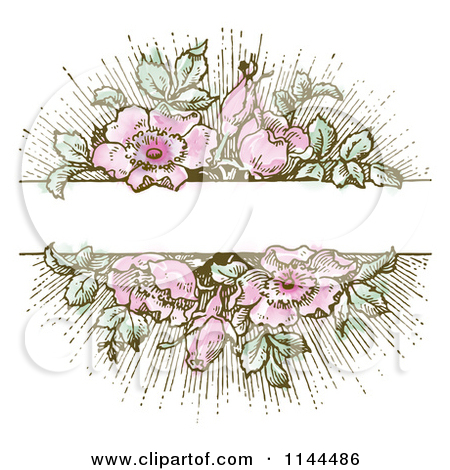 Vintage Pink Flower and Green Leaf Background with Copyspace 1.