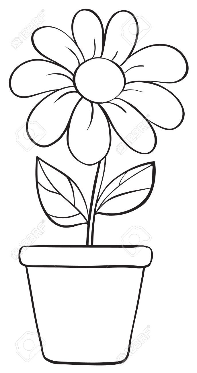 Flower pot black and white clipart 5 » Clipart Portal.