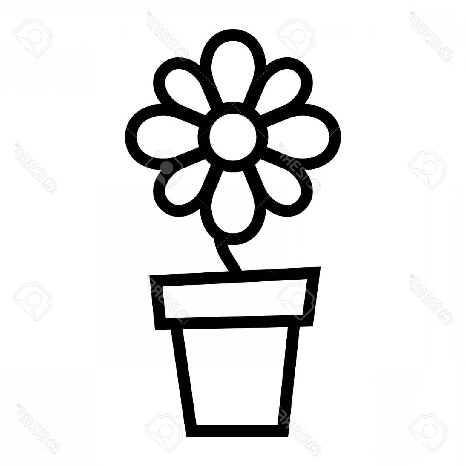 Photostock Vector Flower Pot Vector Icon.