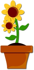 Yellow Flower In Pot Clipart.