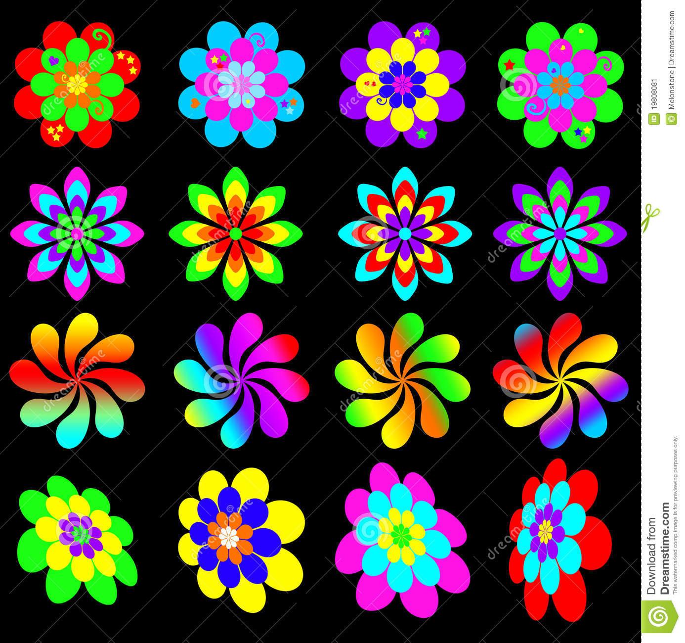 60s Flower Clipart.