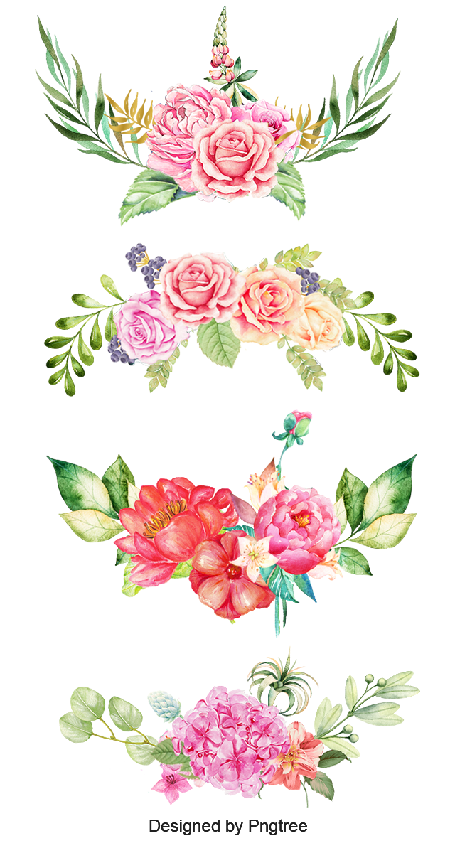 Watercolor Flowers, The Bottom, Pink Flowers, Color Flowers PNG.