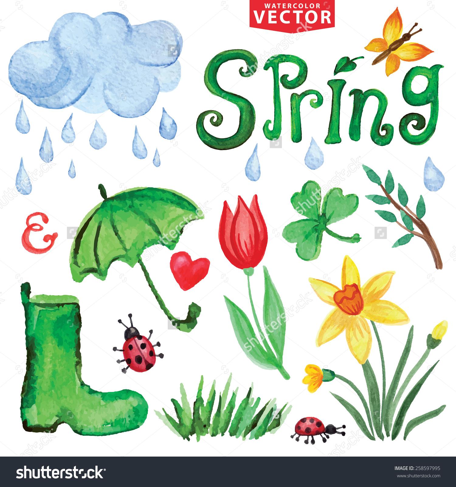 Flower Rain Drops Clip Art.