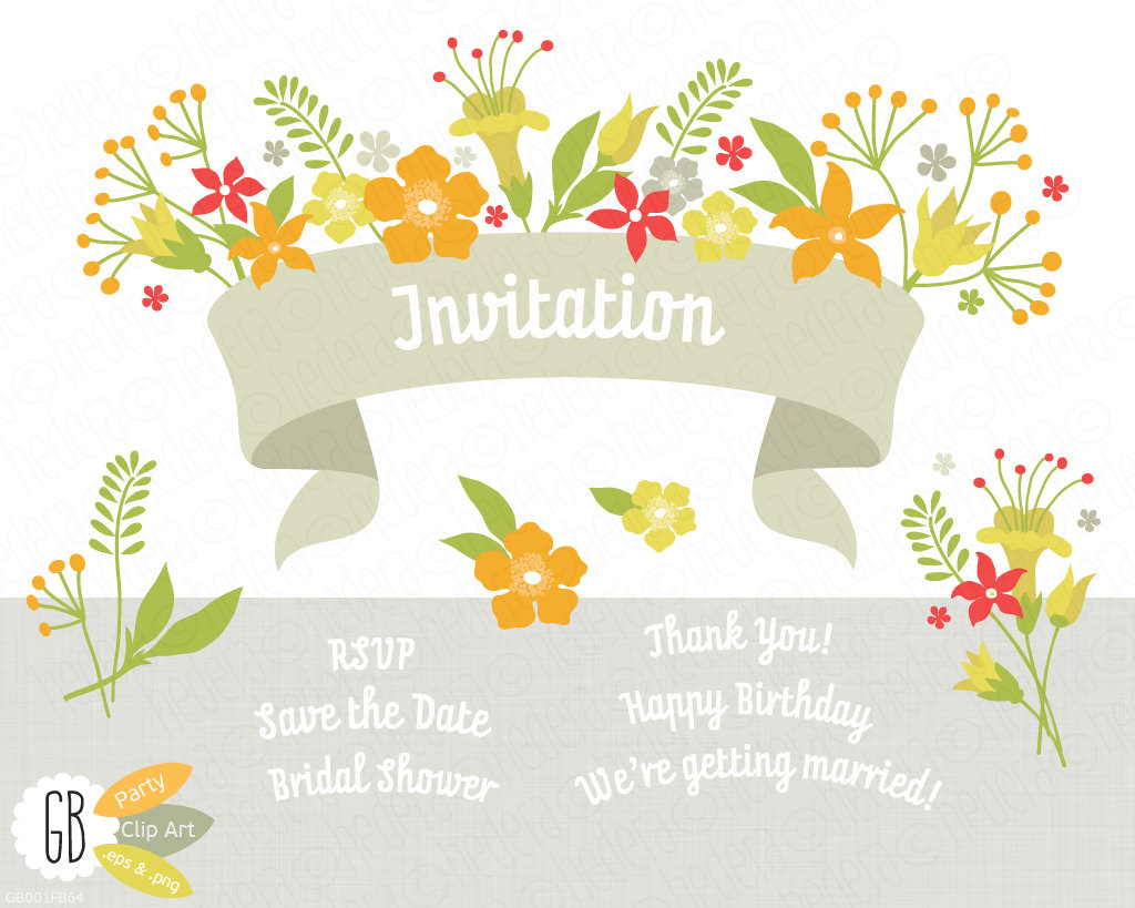 Folk flowers invitation ribbon vector clip art card label.