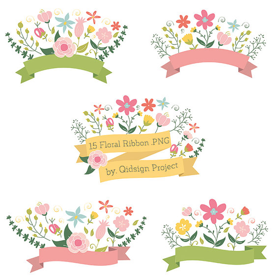 15 Floral Ribbon Banner Clipart Flower Bouquet Flower Wreath.