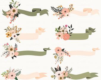 Floral Ribbon Clip Art.