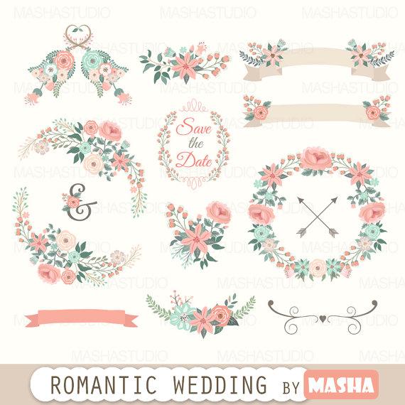 Floral clipart: Romantic Wedding clipart.