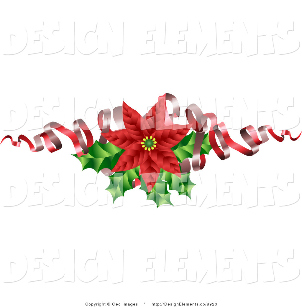 Clipart christmas flower ribbon.