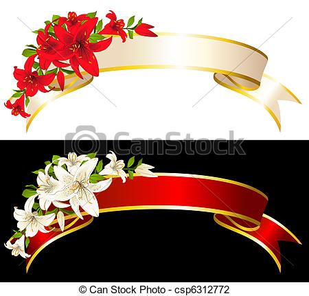 Flower ribbon clipart.
