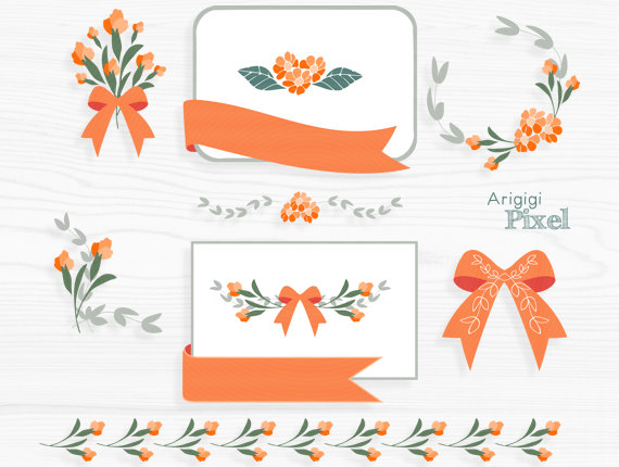 Orange flower clip art set, flower clipart, card making, frame.