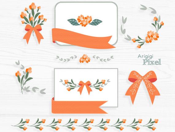 Orange flower clip art set, flower clipart, card making, frame.