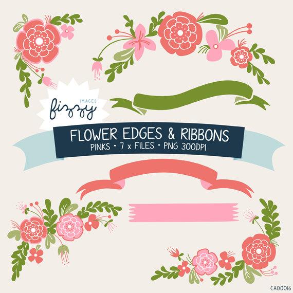 Flower ribbon clipart.