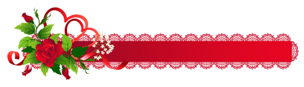 Red Deco Ribbon with Rose PNG Clipart.