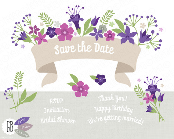 Folk flowers invitation ribbon vector clip art by GrafikBoutique.